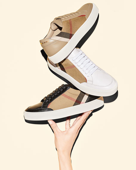 Salmond Check & Leather Low-Top Sneakers
