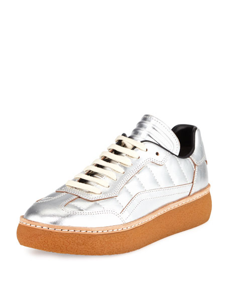 Eden Metallic Leather Creeper, Silver