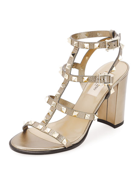 Rockstud Leather 90mm City Sandal, Skin