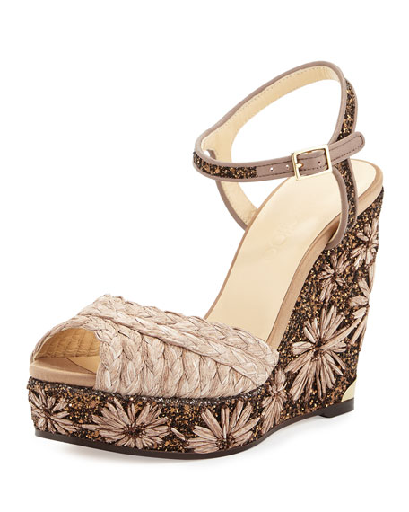 Jimmy Choo Perla Jute/Glitter Wedge Sandal, Light Mocha