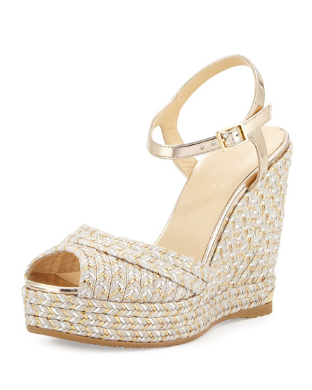Jimmy Choo Perla Jute 120mm Wedge Sandal, Light