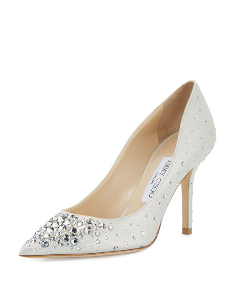 Agnes Crystal 85mm Pump, White/Crystal