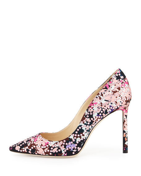 Romy Floral Pointed-Toe 100mm Pump