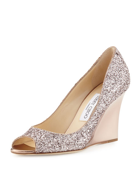 Jimmy Choo Baxen Glitter Peep-Toe Wedge Pump, Tea
