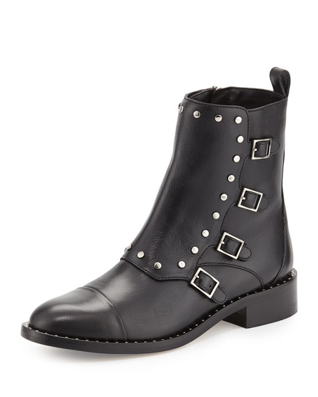Baxter Leather Buckle Bootie, Black