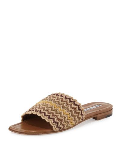 Arcara Woven Flat Slide Sandal, Multi
