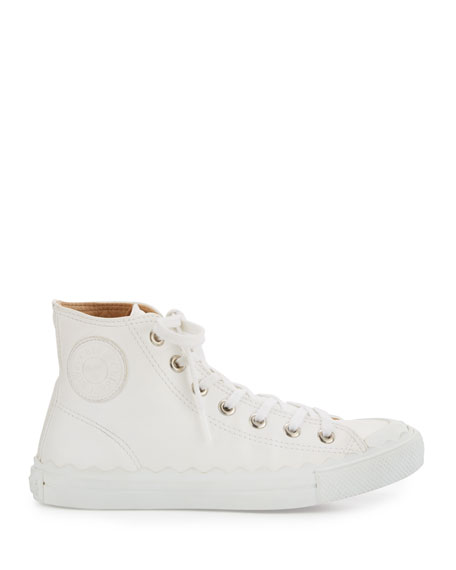 Scalloped Leather High-Top Sneaker, White