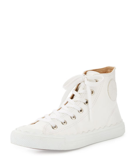 Chloe Scalloped Leather High-Top Sneaker, White
