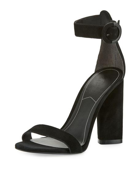 Kendall + Kylie Giselle Suede Chunky-Heel Sandal, Black