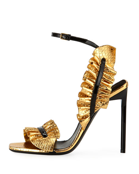 Ruffled Snakeskin 110mm Sandal, Black/Gold