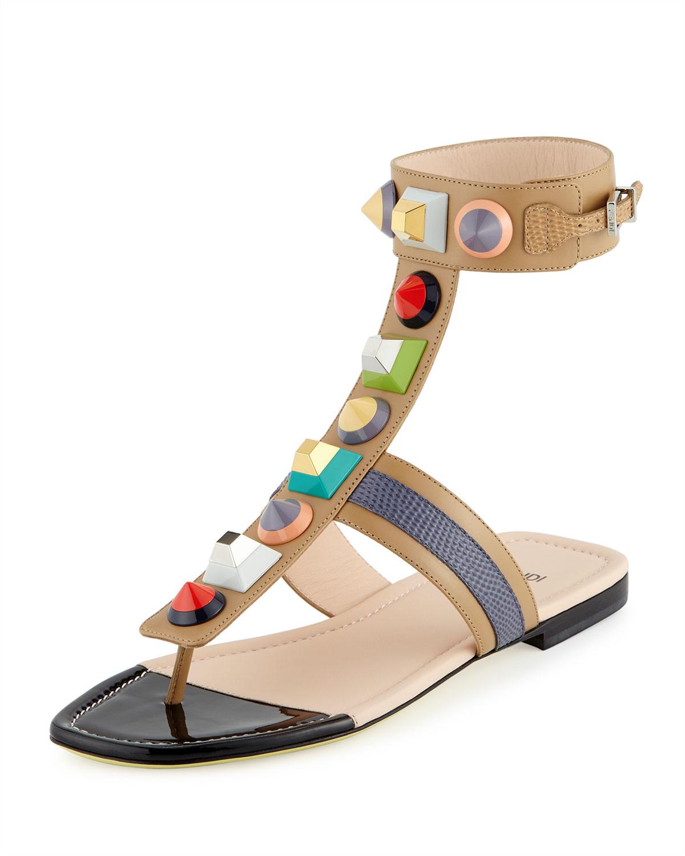 0ef3c2d2e3d2 Fendi Studded Leather Gladiator Sandal