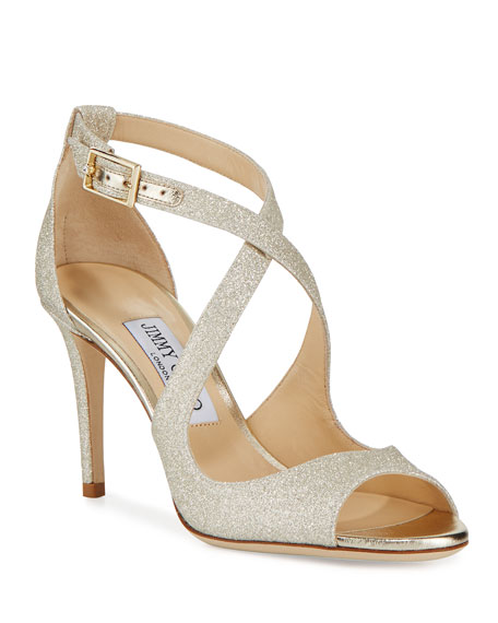 Jimmy Choo Emily Glitter Crisscross 85mm Sandal, Gold