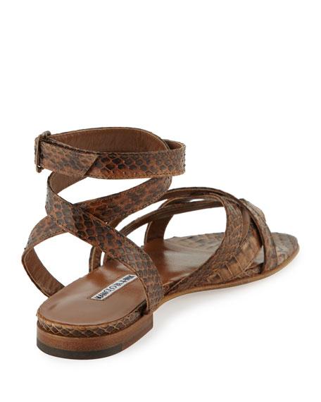 Turla Snakeskin Ankle-Wrap Sandal, Brown