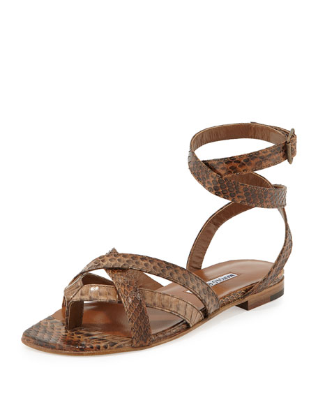 Manolo Blahnik Turla Snakeskin Ankle-Wrap Sandal, Brown