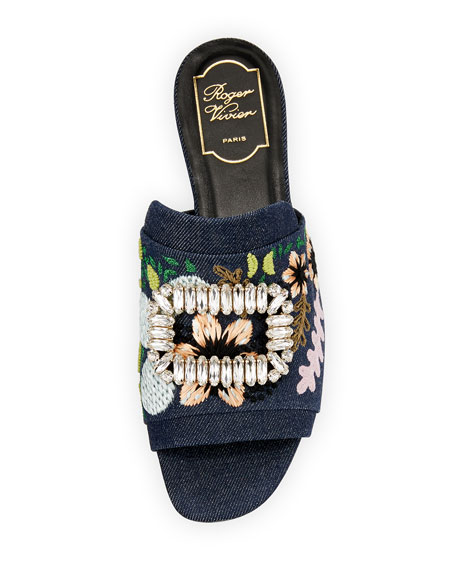 Strass-Buckle Floral Denim Slide Sandal, Black/Blue