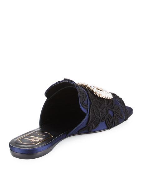 Strass-Buckle Macramé Slide Sandal, Black/Blue
