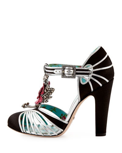 Mariska Flower T-Strap 110mm Pump, Black/Silver