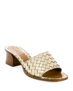 672ac549388 Bottega Veneta Intrecciato Metallic Leather 40mm Slide Sandals