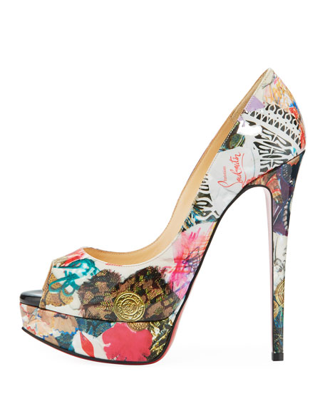 Lady Peep Trash-Print Red Sole Pump, Multi