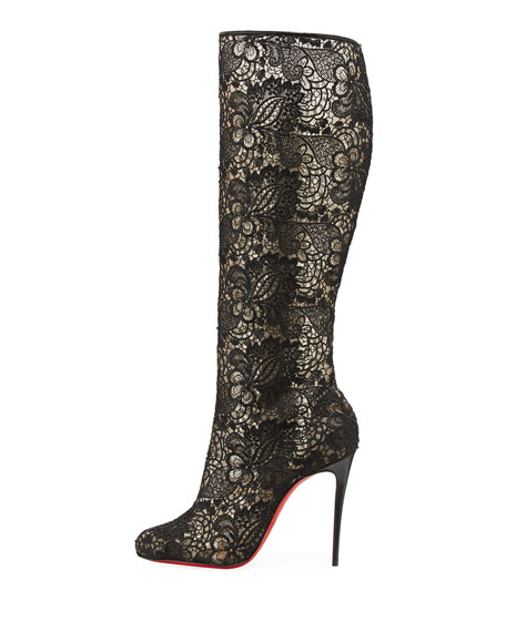 Image 3 of 5: Tennissima Net Lace Red Sole Boot, Black