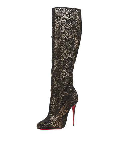 Image 1 of 5: Tennissima Net Lace Red Sole Boot, Black