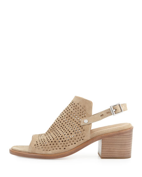 Wyatt Perforated Mid-Heel Sandal, Taupe