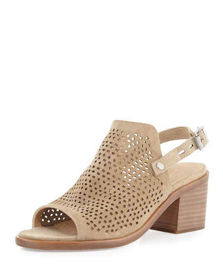 Rag & Bone Wyatt Perforated Mid-Heel Sandal, Taupe