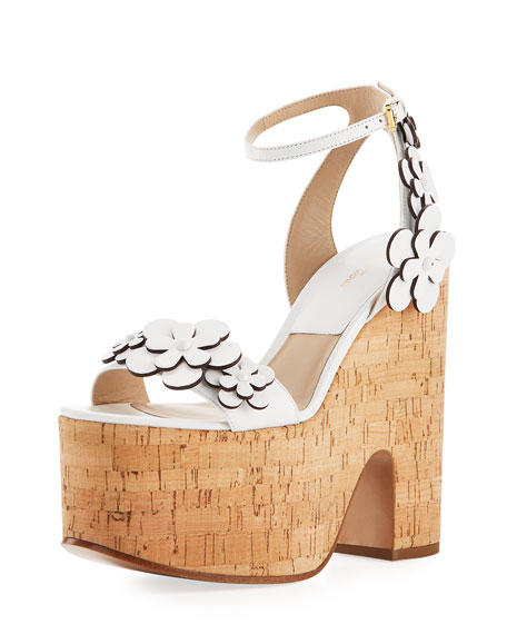 Michael Kors Collection Debbie Cork Platform Sandal, White