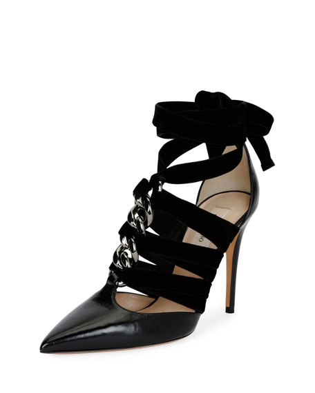 Valentino Garavani Chain Velvet Ankle-Wrap Pump, Black