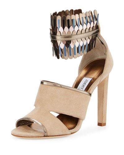 Klara Suede Ankle-Wrap 110mm Sandal, Beige