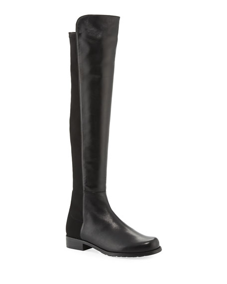 50/50 Leather Over-the-Knee Boot, Black