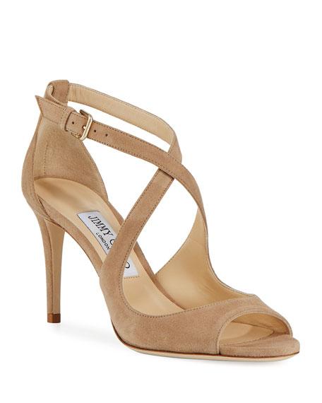 Jimmy Choo Emily Suede Crisscross 85mm Sandal, Beige
