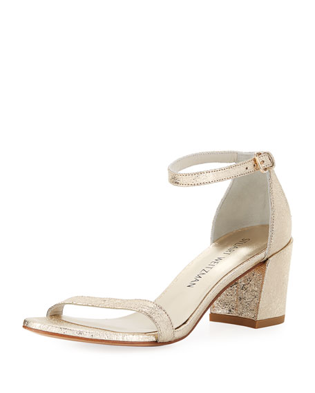 Stuart Weitzman Simple Metallic 55mm Sandal, Gold