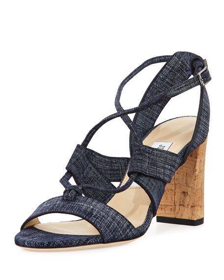 Jimmy Choo Margo Crisscross 80mm Sandal, Denim Blue
