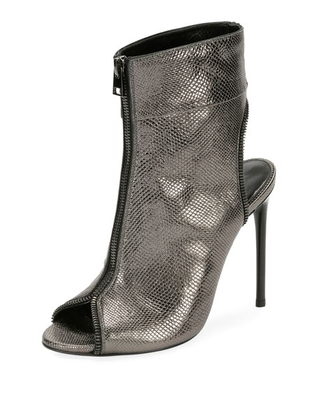 TOM FORD Metallic Karung Open-Toe Zip Booties, Gray