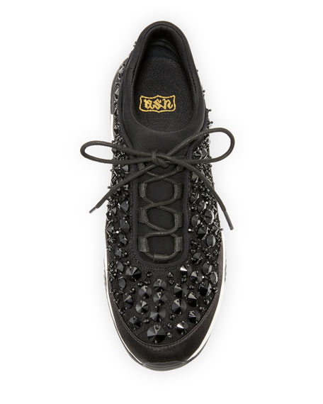 Muse Beaded Lace-Up Sneaker, Black