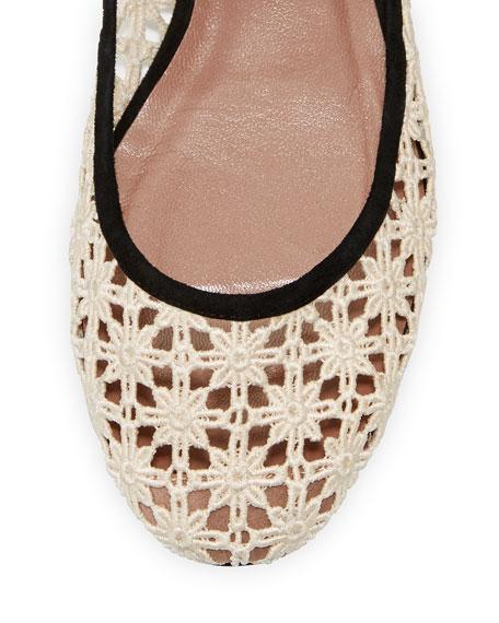 Daria Daisy Crochet Ankle-Wrap Flat