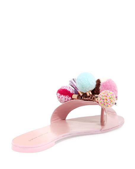 Jada Flat Pompom Slide Sandal, Pink