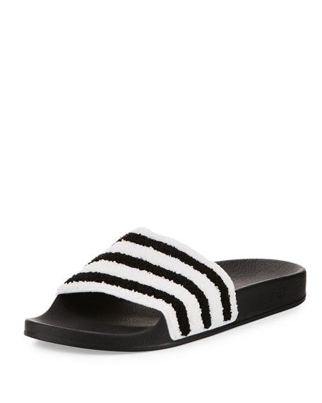 AdidasAdilette Striped Slide Sandal, BlackWhite