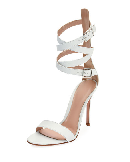 Gianvito Rossi Leather Ankle-Wrap Sandal, White