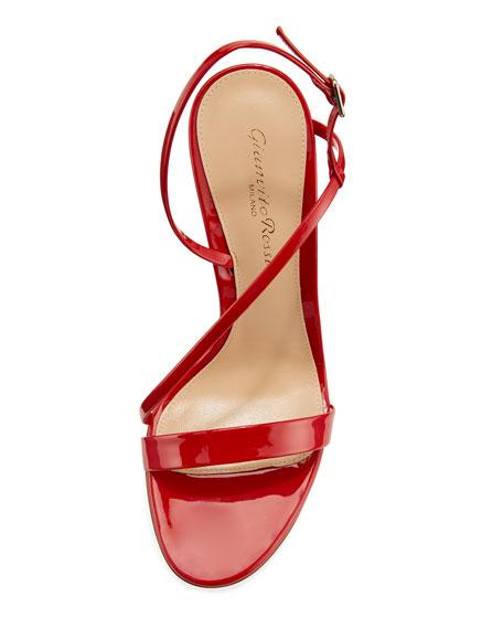 Asymmetric Strappy Patent Sandal