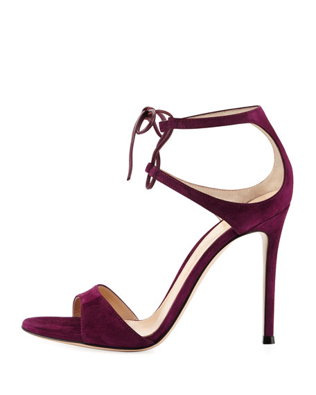 Image 2 of 4: Strappy Suede 105mm  Lace-Up Sandal