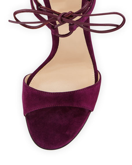 Image 3 of 4: Strappy Suede 105mm  Lace-Up Sandal