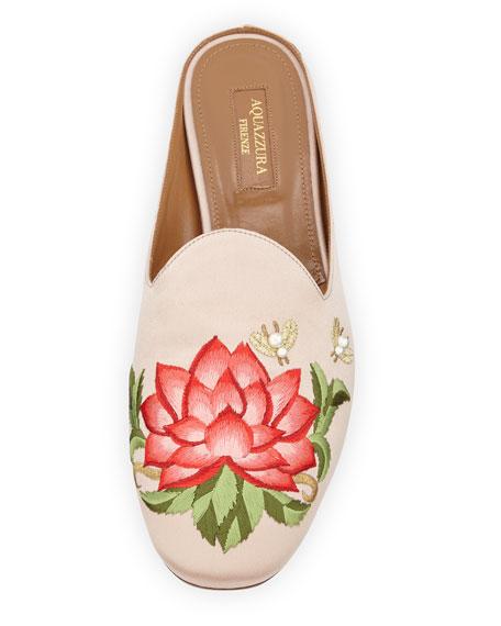 Lotus Satin Embroidered Flat Slide