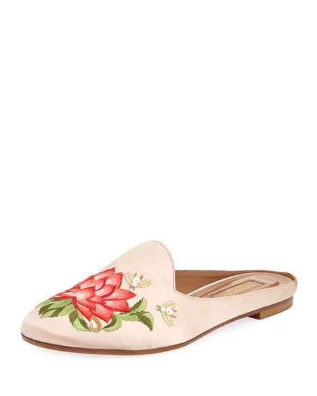 Aquazzura Lotus Satin Embroidered Flat Slide