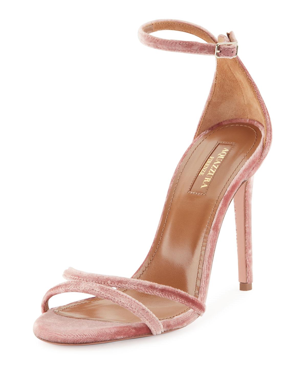 aquazzura pink velvet pumps
