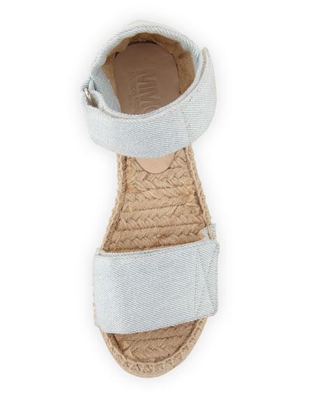 Canvas Wedge Platform Espadrille Sandal, Light Blue