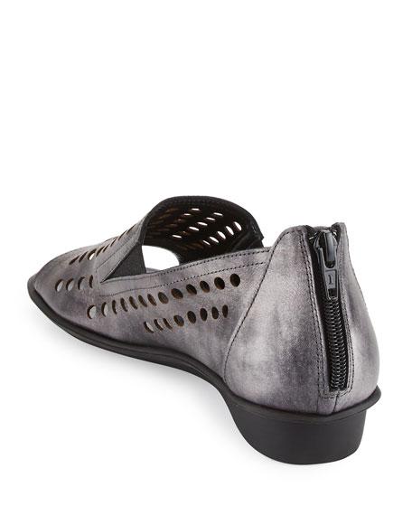 Ellen Perforated Comfort Slip-On Flat, Gray