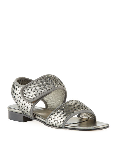 Sesto Meucci Gryta Woven Leather Flat Sandal, Pewter