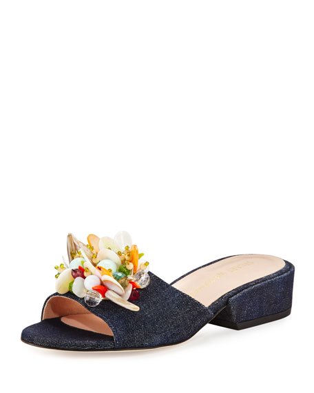 Stuart Weitzman Cupcake Beaded Denim Slide Sandal, Navy
